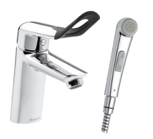 Clover Easy Basin Mixer with sidespray and pop up waste (Chrome/Black)