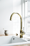 The Tradition kitchen mixer in the surface polished brass