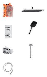 Slate HS2 - Complete concealed shower system (Chrome/Black)